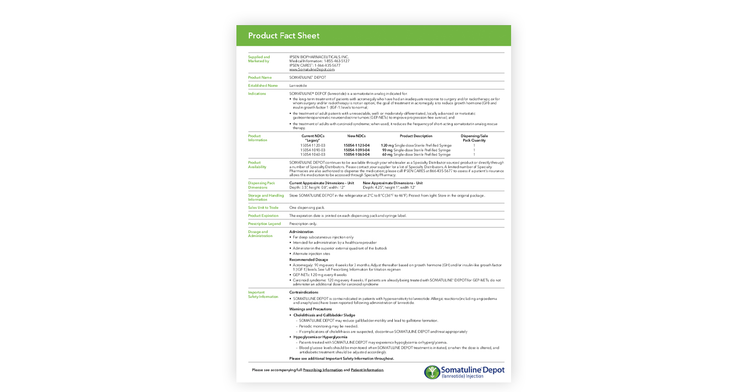 Somatuline Depot Product Fact Sheet
